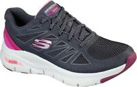 Skechers Womens Arch Fit She's Effortless Sports Trainer Charcoal/Pink