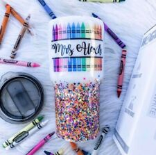 CUSTOM PERSONALIZED NAME CRAYON GLITTER TUMBLER GIFT FOR TEACHER 24 OUNCE STAINL