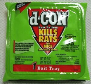 D-CON Bait Pellets 3 oz Bait TRAY DCON Kills Rats And Mice Discontinued