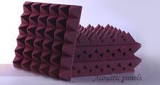 10pcs  Acoustic Pyramid Studio Foam In Burgundy Sound Absorption KTV Foam
