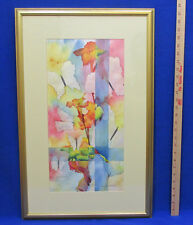 Lily Butterfly Water Color Outline Print by Terry Honstead Red Orange Yellow