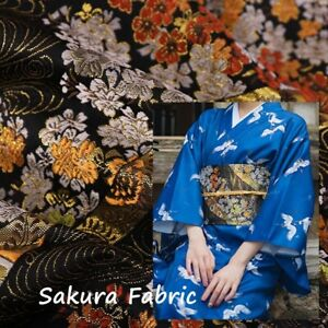 Japanese Sakura Cotton Fabric Metalic Gold Retro Material Funny DIY Home Decro