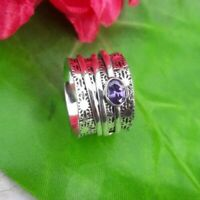 Solid 925 Sterling Silver Band Spinner Ring Jewelry & Amethyst All Size DO-228