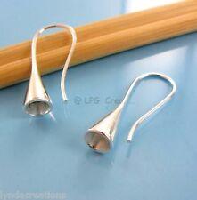 2 Supports boucles d'oreille Argentés 27mm- Cône Creux à Coller Diam 3.40mm#202