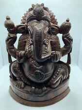 Hindu God Ganesha Hand Carved Ganesh Statue Murti Yoga Figurine Wooden