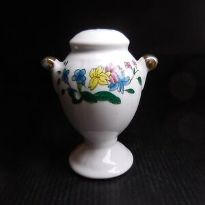 Salière céramique porcelaine blanc or fin fleur vintage art nouveau table N7424