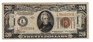 1934 A $20 US Federal Reserve Note FR# 2305 Hawaii Brown Seal C2996
