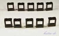LEGO - 10 x Fenster 1x2x2 schwarz OHNE Glas / Zugfenster 60032 NEUWARE