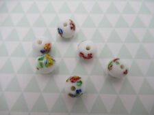 Vintage Glass 8mm Round Beads - White Tombo Beads - From Japan