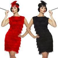 Ladies Black Red Flapper Costume Charleston 20s Gatsby Girl Fancy Dress UK 10-14