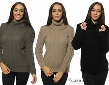 Chunky, Cable Knit Polo Neck None Long Sleeve Women's Jumpers & Cardigans