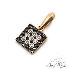 14K Rose Gold Pendant inlaid Black and White Diamonds