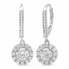 3 55 Ct Round Cut Solitaire Halo Drop Dangle Leverback Earrings 14k White Gold