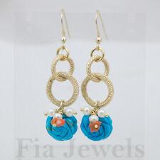 ORECCHINI aulite turchese perle e corallo EARRINGS howlite pearls coral