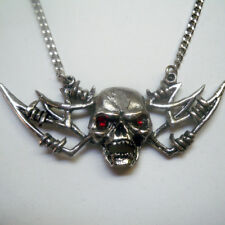 Real Metal Jewelry	Barbed Wire Winged Skull w Red Eyes Necklace