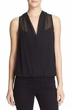 NWT Diane von Furstenberg Dara Faux Wrap Sleeveless Top Blouse Black $228 – S, M