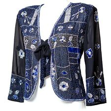 NEW  SEQUIN JACKET BLAZER  PARTY WEDDING SEQUIN COVER UPS BLUE BLAZER SEQUINNED