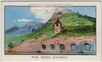 Haute-Isle France Church Carved In Face Of Stone Cliff  1930s Ad Trade Card