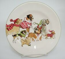 "Pier 1 Park Avenue Puppies Salad Luncheon Plate 8.75"" Dogs in Winter Coats"