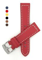 Leather Watch Strap Band, 20 - 28mm, Many Colors, fits Fossil, Citizen & More
