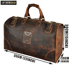 """Men Brown Vintage Genuine Leather Cowhide 22"""" Travel Luggage Duffle Gym Bag"""