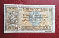 Ecosse - Scotland - Bank of Scotland  -  Rare et Joli Billet de  1 £ 04-02-1935