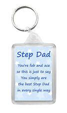 STEP DAD Keyring Keyfob Poem Birthday Fathers Day Fun Novelty Gift Keepsake