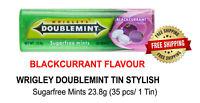Sugarfree Mints Wrigley's Doublemint NEW Stylish Tin Packs Blackcurrant Flavour