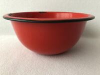 Vintage Enamelware Bowl Red With Black Trim