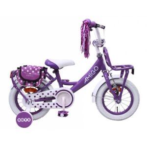 Amigo Dots - Kinderfahrrad für Mädchen - 12 zoll - ab 3-4 Jahre - Lila