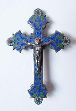 Croix en argent massif + émail  Bijou du 19e siècle  silver enamel cross