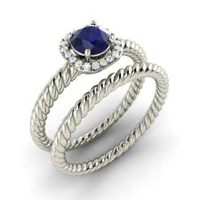 Natural Blue Sapphire and Diamond Engagement / Wedding Ring Set 18K White Gold