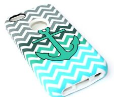 iPhone 5C - HARD & SOFT RUBBER HYBRID IMPACT CASE TURQUOISE GREEN BLUE ANCHOR