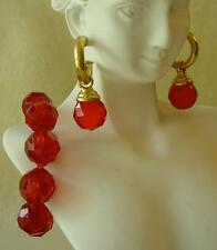 Earring Demi Set Red Costume Jewelry Vtg Stretch Faceted Lucite Bracelet Pierced
