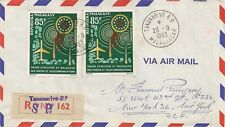 LETTRE AIR MAIL PAR AVION TANANARIVE POUR NEW YORK USA 1963 CACHET AU DOS