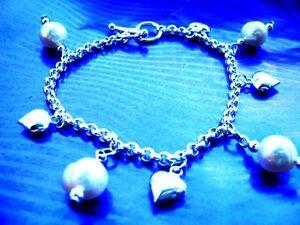 """Sterling Silver Fresh Water Pearls & Hearts Charm Bracelet on Belcher Chain 8"""""""