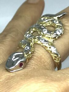 GOLD Snake Ring 10k Yellow white simulated Ruby diamond size 8 ask 6 7 9 10
