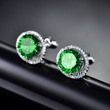 HUCHE White Gold Filled Eye Oval Design Green Sapphire Studs Lady Party Earrings