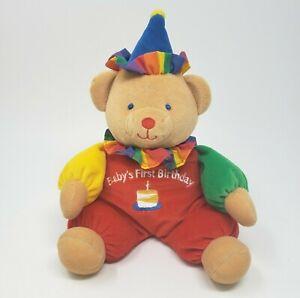 "11"" VINTAGE EDEN TEDDY BEAR BABY'S FIRST BIRTHDAY CLOWN STUFFED ANIMAL PLUSH TOY"