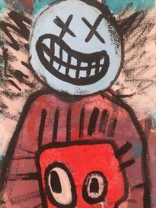 Hasworld Original,painting,signed,Pop Art,Cat Contemporary abstract Like Kaws