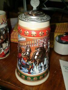 Hometown Holiday Anheuser Busch Budweiser Ceramarte Clydesdale Stein 1993