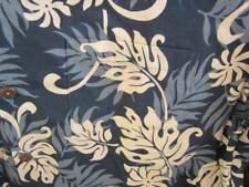 Large  Black Grey Hawaiian Shirt Leaves Flowers USA Made Cotton Coco Buttons