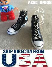 "1/6 Converse All Star Style Sneakers BLACK For 12"" Female Figure U.S.A. SELLER"