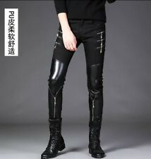 Punk Mens Cotton Winter Zipper Casual Skinny PU Leather Trousers Slim Fit Pants