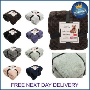 Large Soft Warm Fleece Cuddly Teddy Throw Sofa Double King Bed Blanket