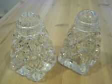 Vintage Matching Pair Triangle  Glass Sugar Sifter /Shakers glass screw tops