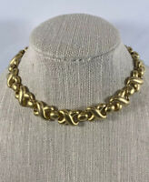 Vintage ERWIN PEARL EP Gold Tone Heavy Chunky Link Chain Choker Necklace Signed