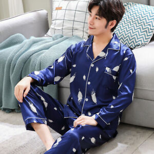 2PCS Mens Silk Satin Pajamas Set Sleepwear Pyjamas PJS Long Sleeve Homewear Plus