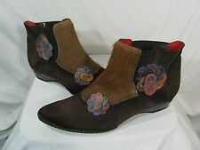 Womens 8 Leather Fashion Chelsea Boots Horse Hair Suede Wool Firenze 38 Italy