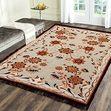 Handmade Chenille Living Dining Bed Room Rug Carpet Dhurrie 4.5 ft x 6 ft